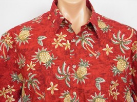 Campia Moda Camp Shirt Mens L 100% Cotton Red Pineapples Palm Trees - $23.36