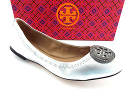 New TORY BURCH Size 7 LIANA Silver Metallic Ballet Flats Shoes - $159.00