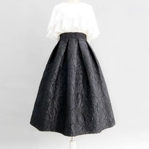 Women Black A-line Midi Skirt Outfit Plus Size High Waist Party Skirt  image 1