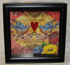 MELODY ROSS HEART SHADOW BOX  3D A LITTLE LOVE CAN FIX ALMOST ANYTHING C... - $24.74