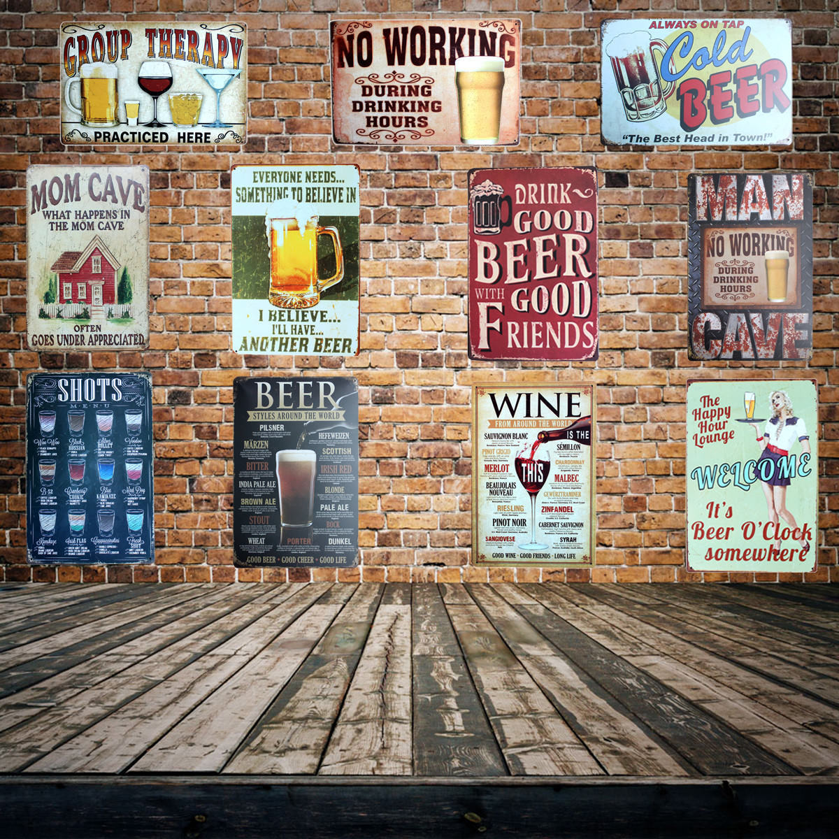 PUB Hotel Home Decoration Vintage Painting Wall Poster Art 20*30 CM Mix Items