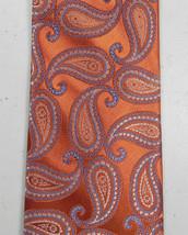 MICHAEL KORS Paisley Print Tie Necktie Copper Blue White Silk - $19.39