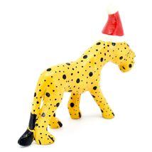 Hand Carved & Painted Jacaranda Wood Santa Hat Cheetah Safari Christmas Figurine image 4