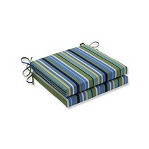 Pillow Perfect Outdoor/Indoor Topanga Stripe Lagoon Squared Corners Seat... - £44.97 GBP