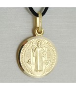 SOLID 18K YELLOW GOLD ST SAINT BENEDICT 15 MM MEDAL WITH CROSS, MADE IN ... - $333.00