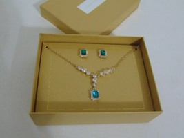 "Charter Club Gold-Tone Crystal & Green Stone ""Y"" Necklace & Stud Earring... - $15.35"