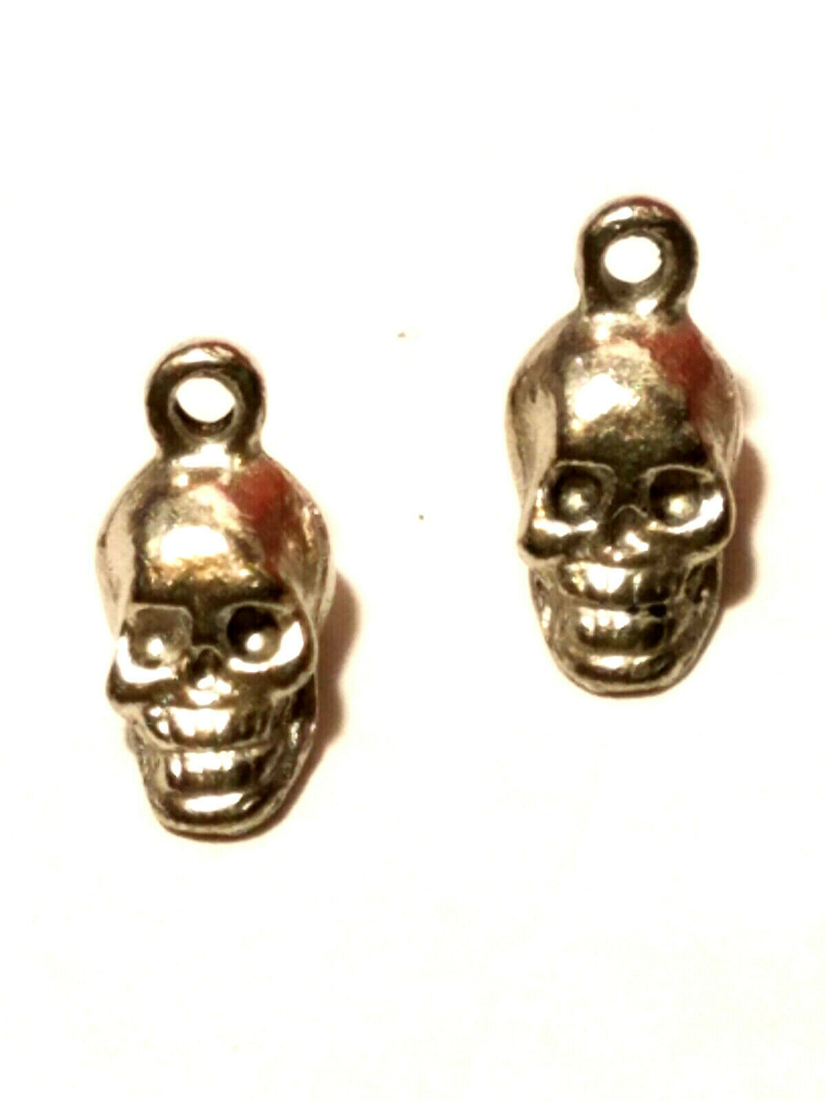 2pcs. Small Skull Fine Pewter Charms 6mm L x 12mm W x 5mm D