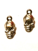 2pcs. Small Skull Fine Pewter Charms 6mm L x 12mm W x 5mm D image 1
