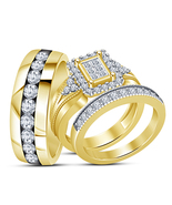 14k Yellow Gold Plated 925 Silver Bride & Groom Engagement Ring Diamond ... - $156.99