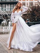 Vintage Lantern Sleeve White Best Bridal Gown Open Back V-neck Formal Party Gown image 2