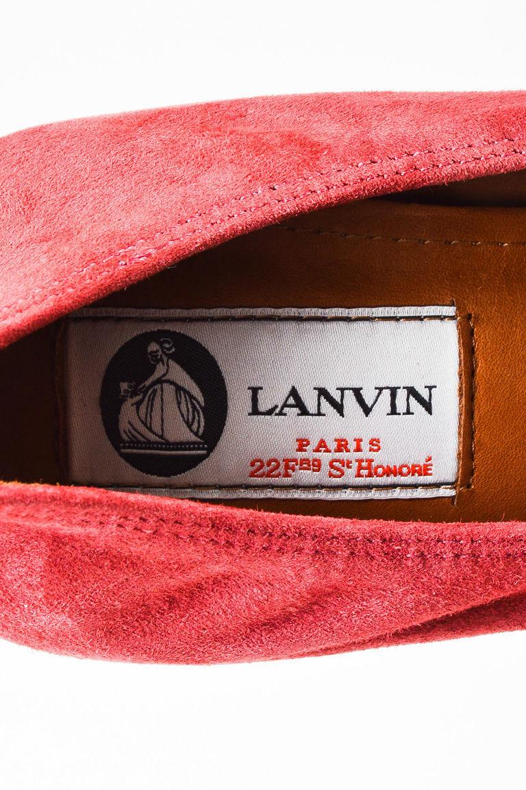 "Lanvin NIB ""Raisin"" Red Suede Crystal Embellished Cube Heel Ballerina Pump SZ 40"