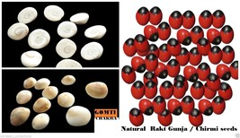 Mantra Energised 11 Pcs of Bright Red Chirmi + 11 Pcs Gomti Chakra 100% ... - $9.70