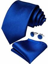 DiBanGu Solid Royal Blue Tie Men's Silk Necktie Pocket Square Cufflinks Set