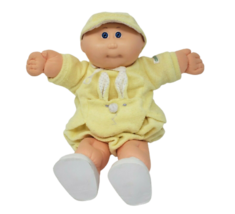 Vintage 1985 Cabbage Patch Kids Boy Doll Bald Blue Eyes Preemie Yellow Outfit - $45.82