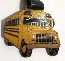 Vintage SCHOOL BUS Watch Fob Metal & Enamel Yellow Black Unisex Bus Driv... - $28.53
