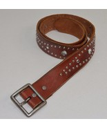 American Eagle Brown Leather Belt Grommets Medium Womens Hippie - $10.39