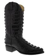 Mens Black Full Crocodile Tail Pattern Western Cowboy Boots J Toe - $189.99