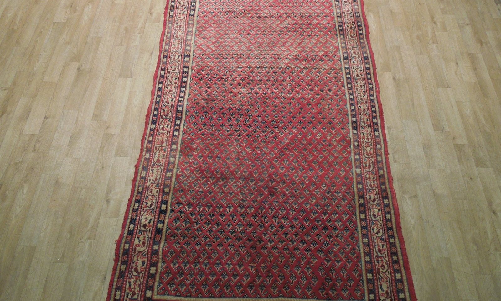 Mir Persian Wool Hand-Knotted Rug 4 x 9 Estate All-Over Flames Design Red Rug image 10