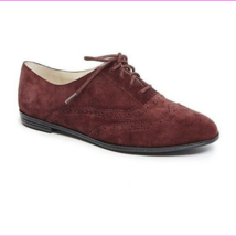 Isaac Mizrahi 'Fiona' Dark Red/Wine Suede Lace Up Wingtip Oxford Flats 5M - $38.00 CAD