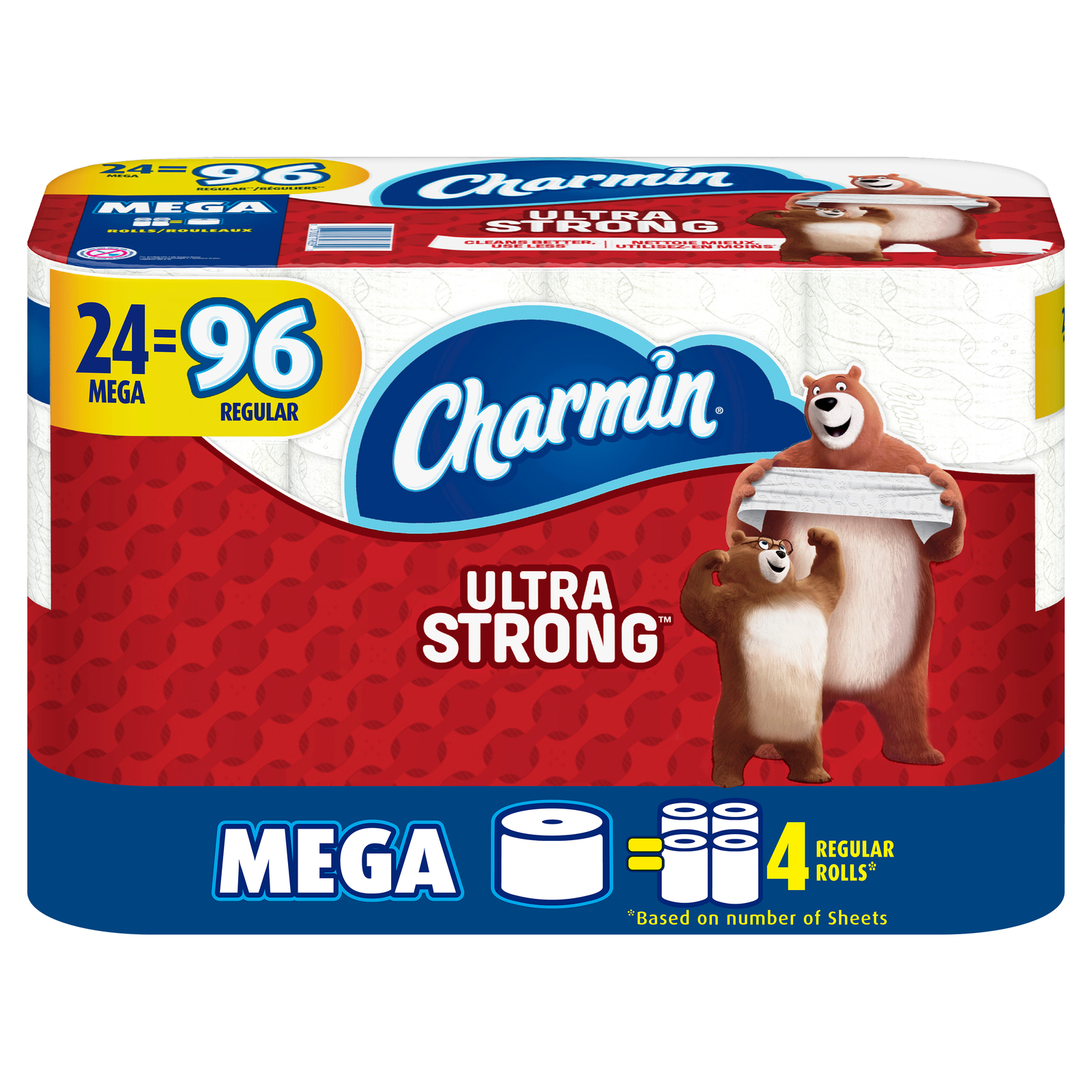 Primary image for CHARMIN Ultra Strong toilet paper 24 MEGA ROLLS = 96 Regular Rolls pack