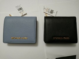 NWT MK Michael Kors Jet Set Travel Leather Carryall Card Case Wallet bla... - £34.24 GBP