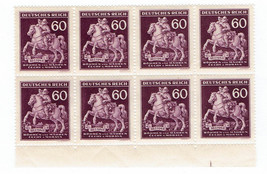 1943 Horse and Postman Block of 8 WWII Bohemia and Moravia Stamps Catalog 84 MNH