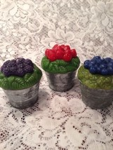 Lot 3 Avon 1997 Berry Tin Fruit Figural Candle Strawberry Blueberry Blac... - $9.46