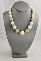 "VINTAGE RETRO Jewelry WHITE PLASTIC & TEXTURED GOLD BEAD NECKLACE  - 18"" - $10.00"