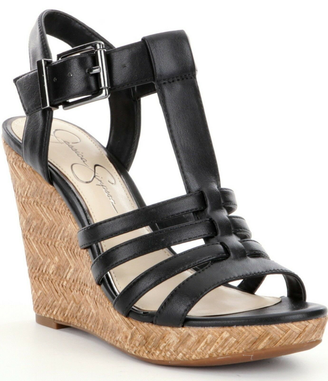 Jessica Simpson Jenaa Platform Wedge Sandals, Sizes 6-10 Black Sleek JS-JENNA