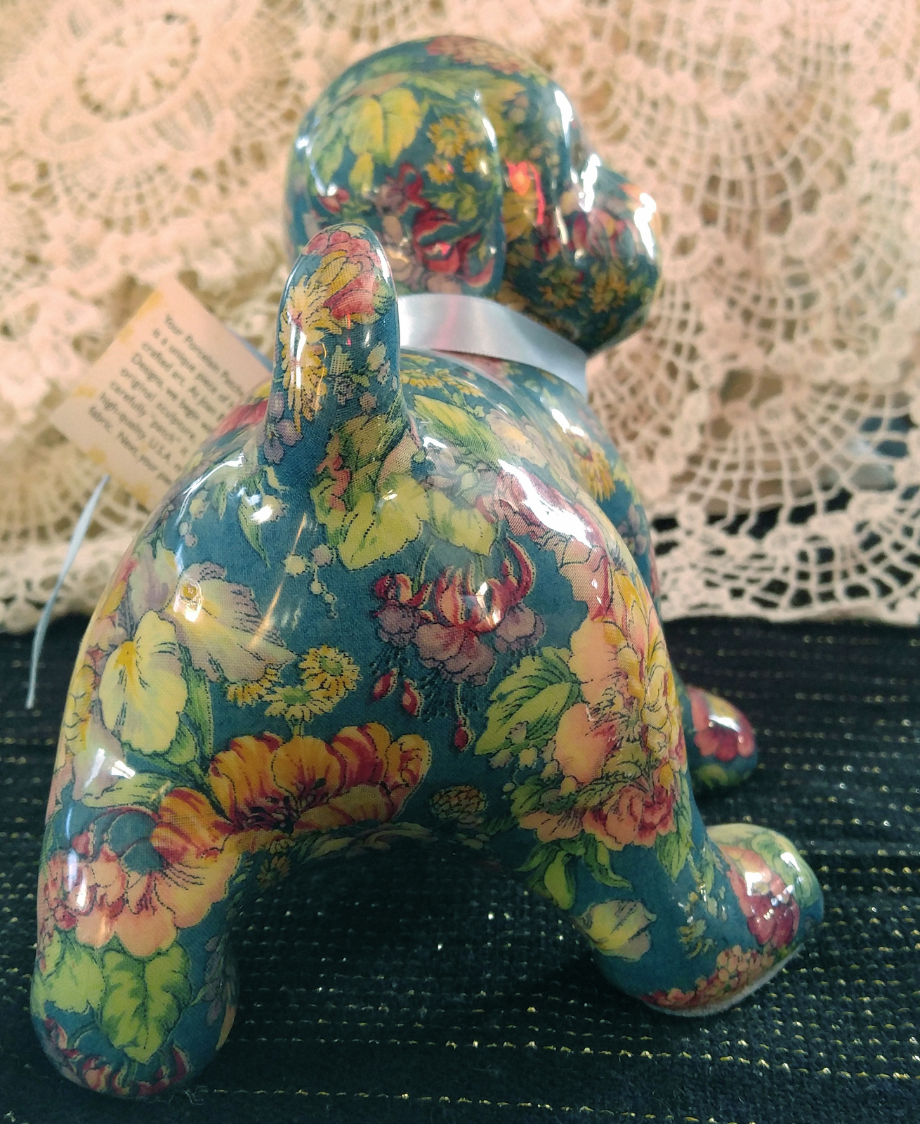 "Joan Baker Designs - Porcelain Patchworks Puppy - ""Blue Spring"" Pattern"