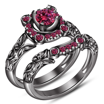Pink Sapphire 14k Black Gold Plated Pure 925 Silver Engagement Bridal Ring Set - $96.99