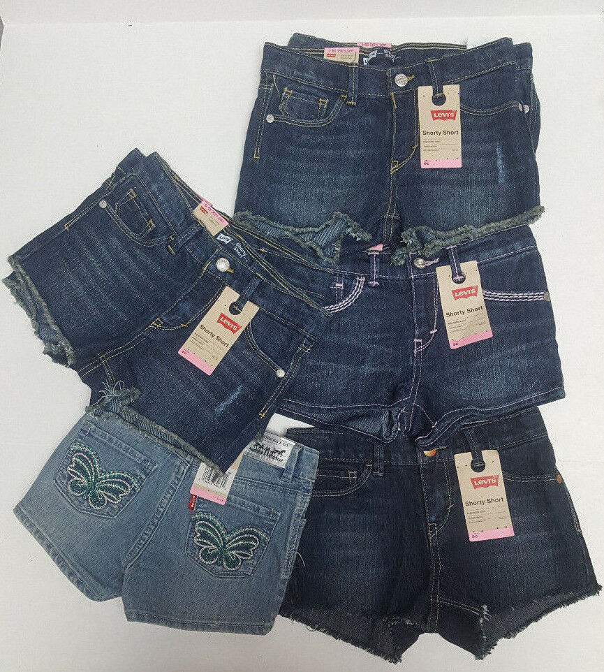 Primary image for Girl's LEVI'S Denim Shorty Shorts NEW Size 4 6 6X Adjustable Waist Stretch $34