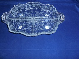 "Fostoria Glass Co ""Chintz"" 3-part Footed Relish Tray - $17.32"