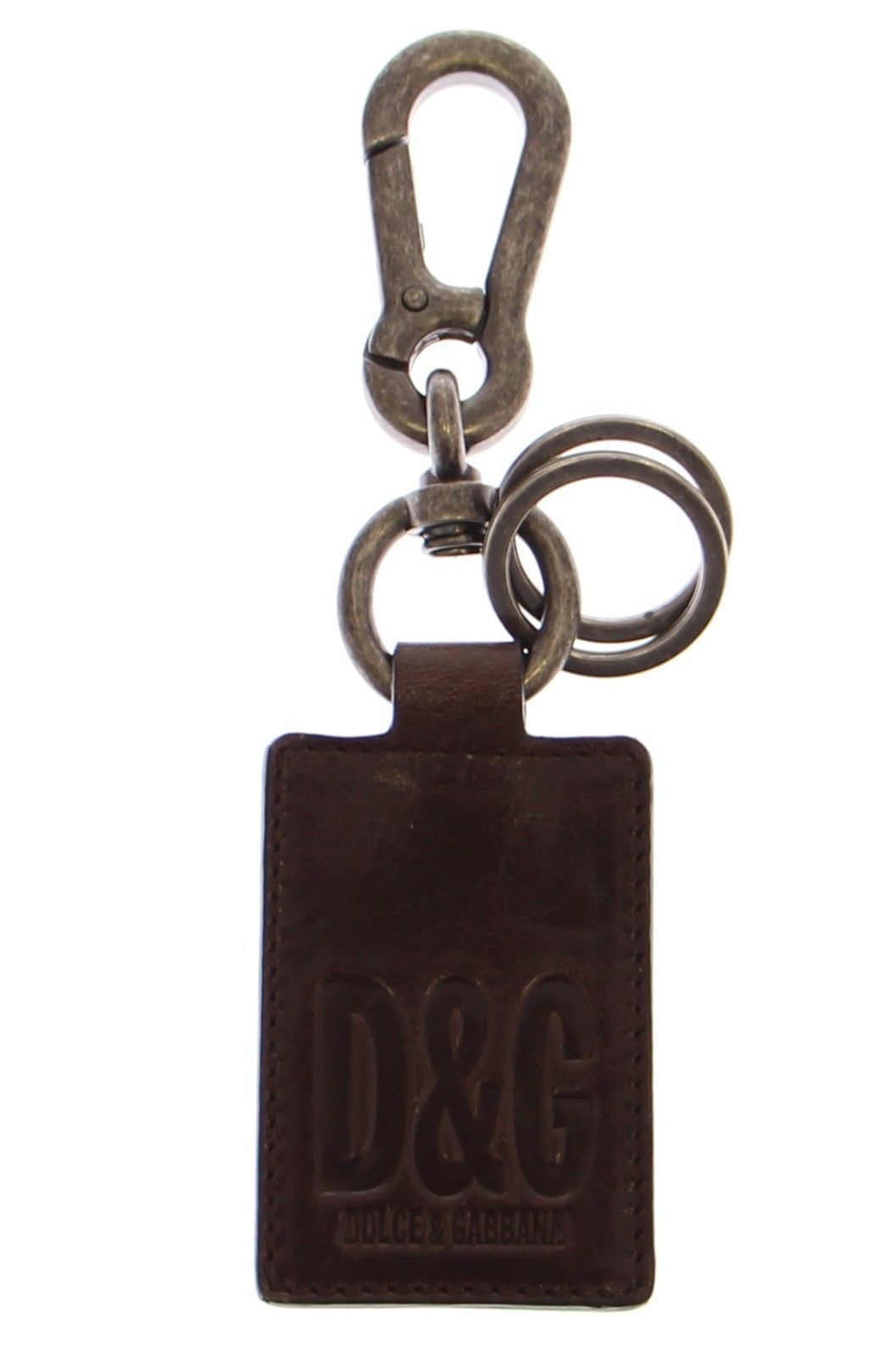 Dolce & Gabbana Leather Metal Unisex Ring Keychain
