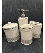 Bella Lux Bathroom Accessory Ceramic White Crystal Set 4 ~ New ~ - $99.99