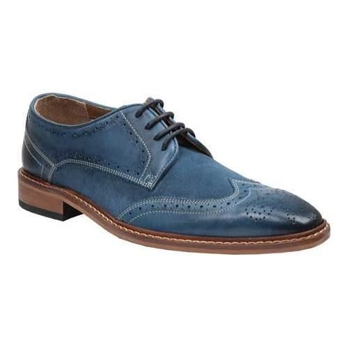Handmade Men's Blue Leather Suede Wing Tip Brogues Dress/Formal Shoes