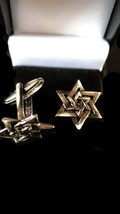antique star of david cufflinks with crossover  design,. in gift box