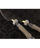 Wedding Cake Knife and Server Set Silver and Gold Combination Design - $39.99