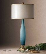 Frosted Table Lamp Cobalt Blue 38H Glass Rich Etched Coastal Decor Brass... - $418.00