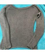 Grey Loose Knit Silk Sweater Rolled Hemline Wrist And Scooped Neckline - $32.66