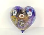 Murano Hand Blown Italian Art Glass Heart Millefiori and Gold Crackle Dip