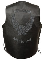 MEN'S MOTORCYCLE REAL LEATHER VEST LIVE TO RIDE EMBROIDERED W/SIDE LACES... - $60.76+
