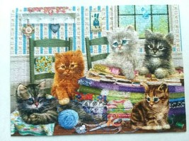 """SUNSOUT """"Lets Get Started"""" 500 pc Puzzle Kittens Sewing Fabric  - $16.95"""