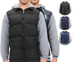 Men's Hybrid Puffer Lightweight Utility Insulated Hooded Quilted Zipper Jacket