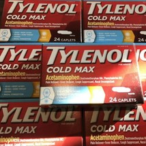 7 Packs TYLENOL Cold Max Day 24 Caplets x 7 Exp: 08/2019 - $59.39