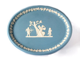 Wedgwood Jasper Oval Tray Blue Jasperware Psyche Bound by Cupid England - $89.09