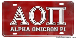 College Fraternity Alpha Omicron Pi Aluminum License plate - $13.81