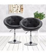 Set of 2 Round Back Bar Stool Pub Chairs Adjustable Swivel Tilt PU Leath... - $159.99