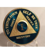Blue & Gold Plated Any Year AA Chip Alcoholics Anonymous Medallion Coin ... - £13.90 GBP