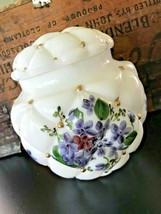 40s Antique Consolidated Milk Glass Quilted Diamond Biscuit Jar Painted ... - $193.49